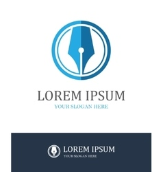 Fountain pen round logo vector