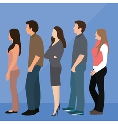 Group of people man woman queue line standing vector