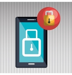 Smartphone with padlock isolated icon design vector