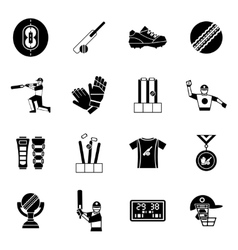 Cricket black icon set vector