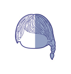 Blue shading silhouette of faceless head of little vector