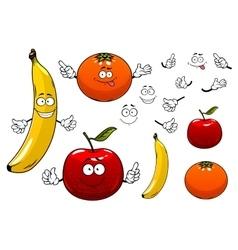Cartoon apple orange and banana fruits vector