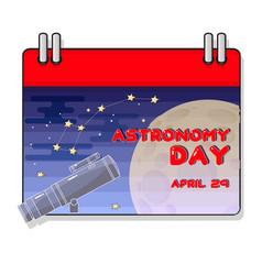 Cartoon telescope and moon astrono vector