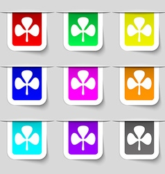 Clover icon sign Set of multicolored modern labels vector image