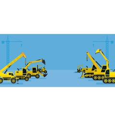 Construction vehicles display background vector