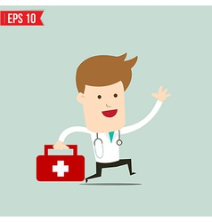 Doctor carry suitecase for emergency service - vector