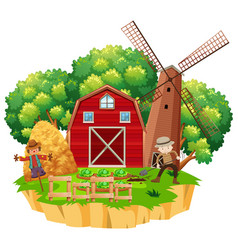 Farm scene with farmer planting vegetables vector