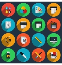 Flat color printing icons vector