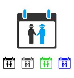 Gemtlemen handshake calendar day flat icon vector
