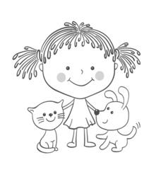 Girl kitten puppy vector