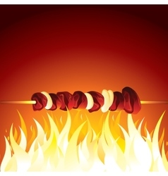 Grill shish kebab prepared on hot flame vector