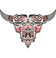 Haida style tattoo design vector image vector image