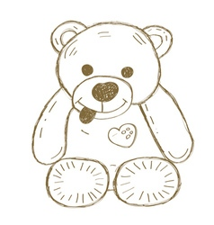 Hand drawn isolated teddy bear vector