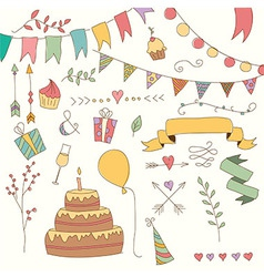 Hand drawn vintage birthday design elements vector