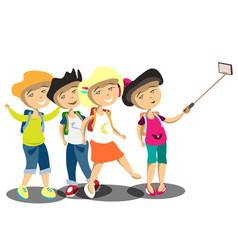 happy children doing self portrait vector image