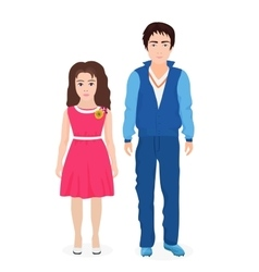 Little cute boy and girl together First class vector image