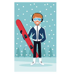 man snowboard cartoon vector image