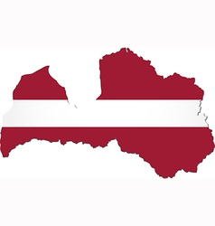 Map of Latvia with national flag vector image
