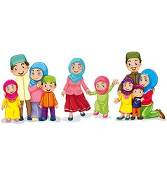 Muslim families looking happy vector image vector image