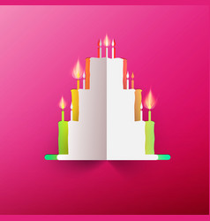 Paper cake with candles on pink background vector