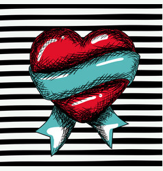 red heart sketch with blue ribbon around on pop vector image