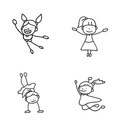 set of hand drawing abstract happy cute girls vector image vector image