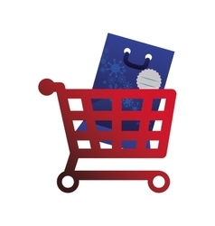 Shopping cart and bag of Merry Christmas design vector image vector image