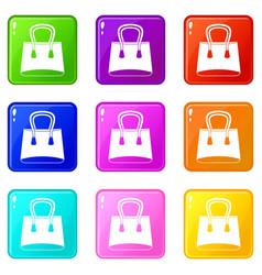 Small woman bag icons 9 set vector