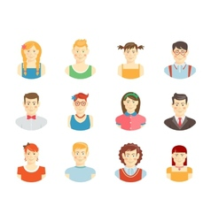 Smiling teenager faces vector image