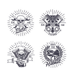 vintage monochrome motorcycle emblems set vector image