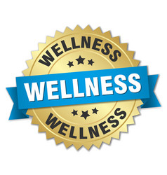 wellness round isolated gold badge vector image vector image