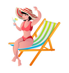 woman on beach smiling girl wear hat on summer vector image