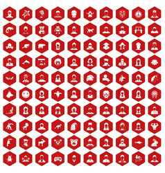100 avatar icons hexagon red vector
