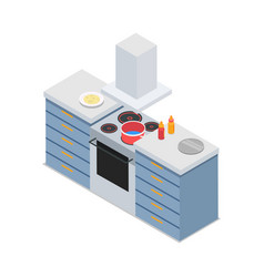 Four-burners cooker isolated at restaurant kitchen vector