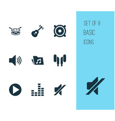 Audio icons set collection of earmuff sound vector