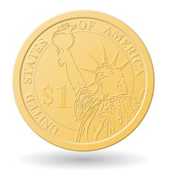One dollar coin vector