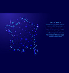 Map of the france from the contours blue vector