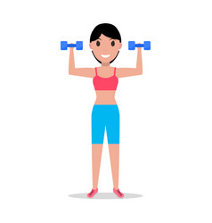 Cartoon girl holding dumbbells for fitness vector