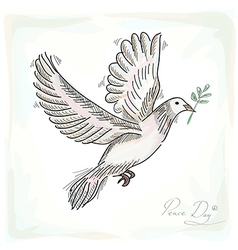 Hand drawn peace dove symbol with texture vector