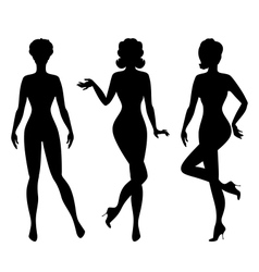 Silhouettes of beautiful pin up girls 1950s style vector