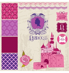 Design elements - princess girl birthday set vector