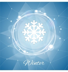 Winter poster with snowflake on geometric vector