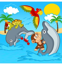 Animals riding on dolphins vector