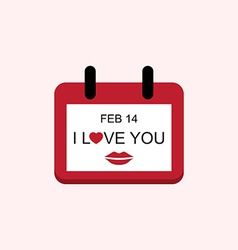 Love valentine day calendar with i love you and vector