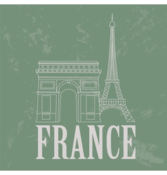 France landmarks retro styled image vector