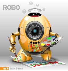 3d orange robo eyeborg painting vector