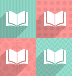 Book icon on colorful backgrounds vector
