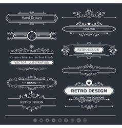 Set of vintage decorations elements vector