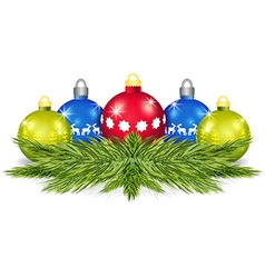 Pine branches with christmas balls vector