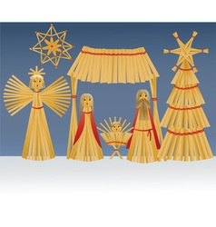 Nativity scene with holy family vector